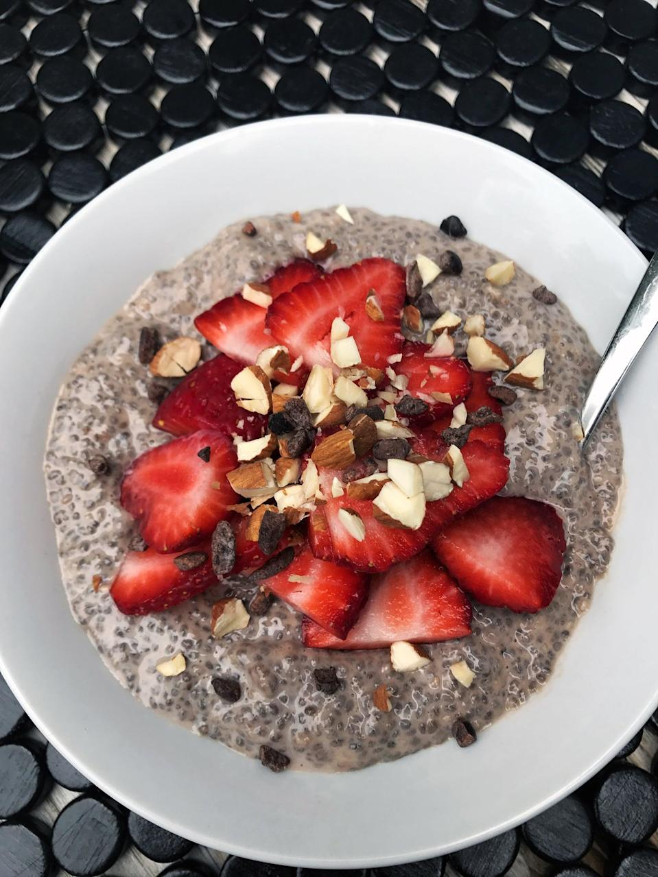 """<p>With this recipe for chocolate chia protein pudding, you can get your chocolate fix and still get a ton of protein - over 20 grams.</p> <p><strong>Get the recipe:</strong> <a href=""""https://www.popsugar.com/fitness/Chia-Pudding-Weight-Loss-43989523"""" class=""""link rapid-noclick-resp"""" rel=""""nofollow noopener"""" target=""""_blank"""" data-ylk=""""slk:chocolate protein chia pudding"""">chocolate protein chia pudding</a></p>"""