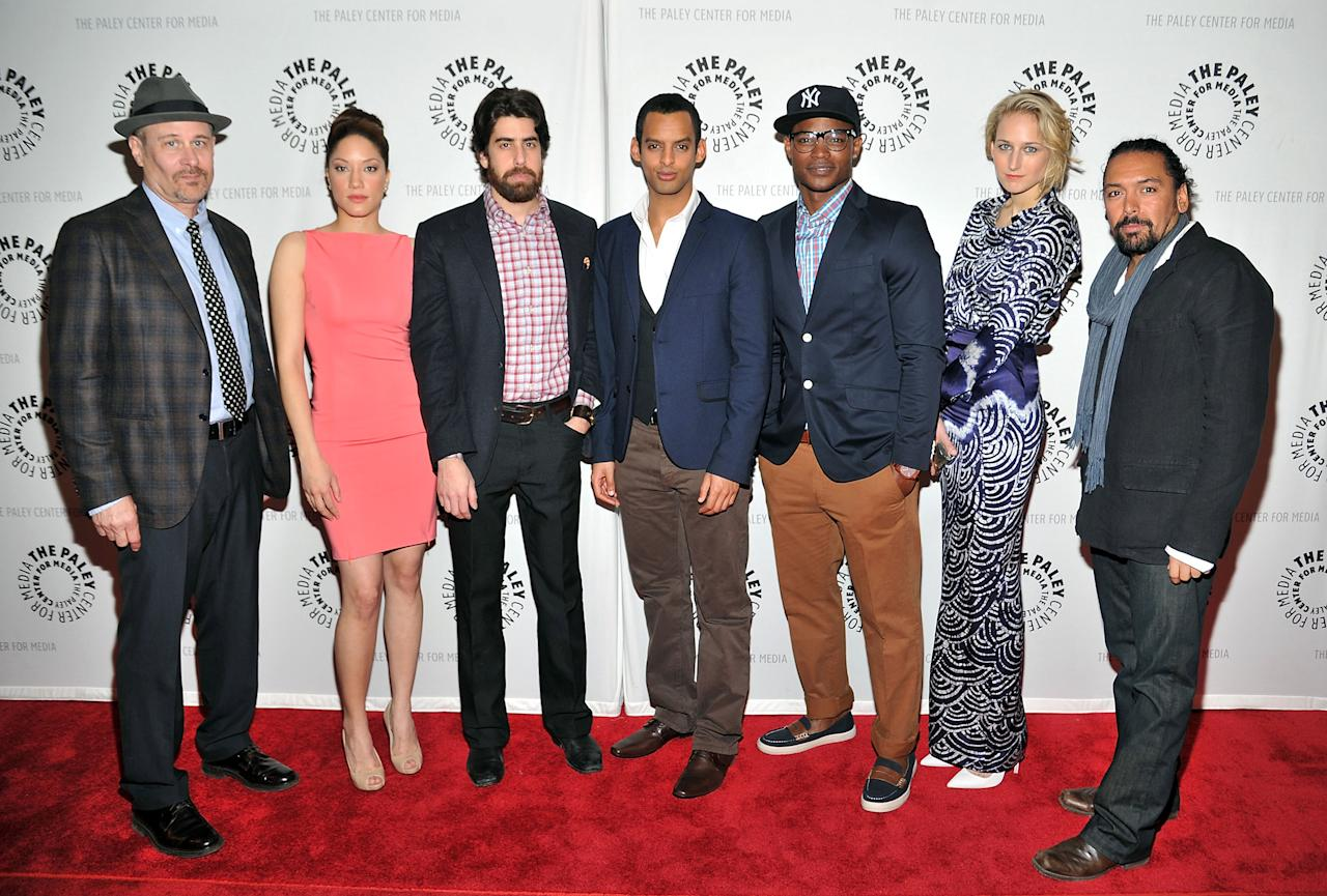"""NEW YORK, NY - APRIL 12:  (L-R) Actor Terry Kinney, Judy Marte, Adam Goldberg, Tom Reed, Harold House Moore, Leelee Sobieski, and Felix Solis attend The Paley Center For Media Presents New York Premiere Of """"NYC 22"""" at Paley Center For Media on April 12, 2012 in New York City.  (Photo by Mike Coppola/Getty Images)"""