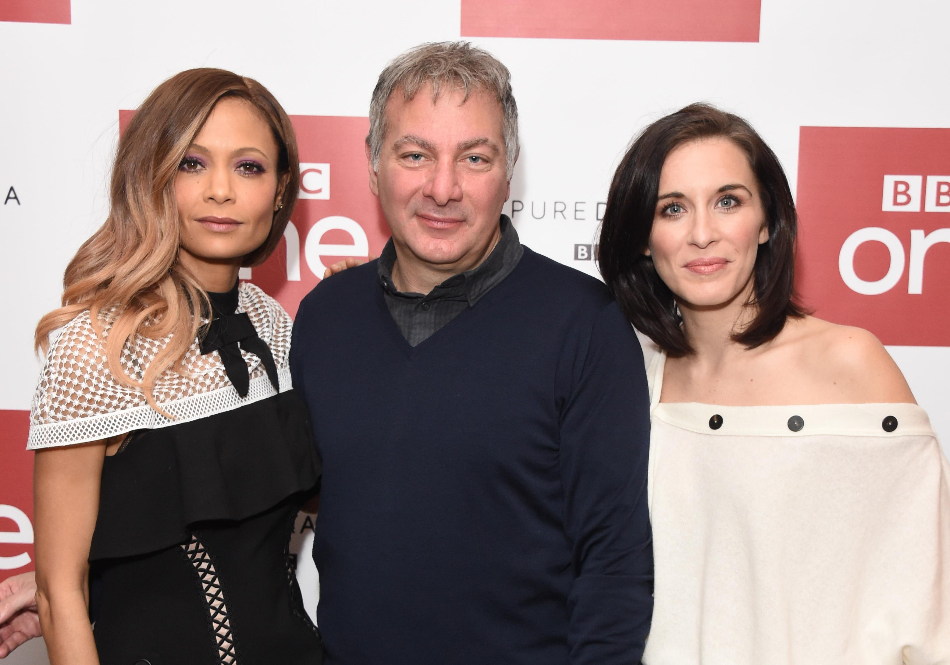 LONDON, ENGLAND - MARCH 03: Thandie Newton, Jed Mercurio and Vicky McClure attend the launch of the BBC drama 'Line Of Duty' on March 3, 2017 in London, United Kingdom. (Photo by Stuart C. Wilson/Getty Images)