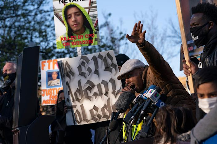 Mark Clements speaks at a rally for 13-year-old Adam Toledo, Friday April 15, 2021 in Chicago's Logan Square neighborhood.