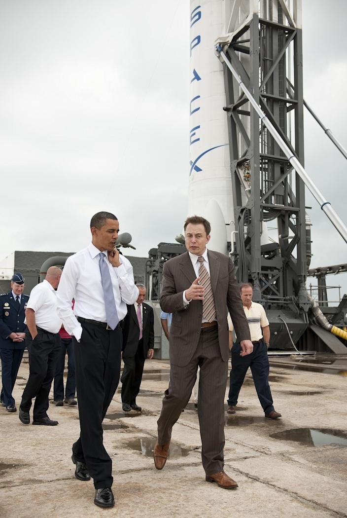 <br>President Barack Obama tours the SpaceX commercial rocket processing facility with Elon Musk, at Cape Canaveral Air Force Station in Florida, April 15, 2010.