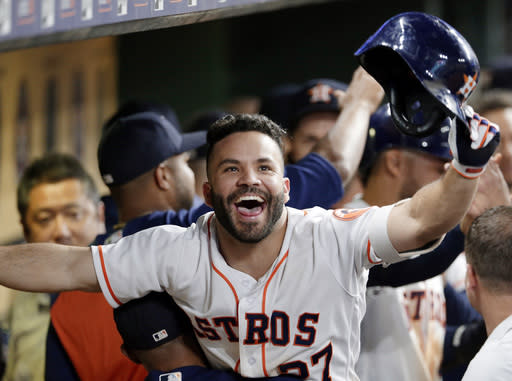 Houston Astros' star Jose Altuve celebrates a key moment in his team's huge comeback win against the Angels. (AP)