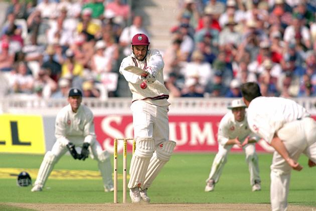 16 Jun 2000:  Jimmy Adams of the West Indies pulls a ball from Darren Gough of England, on his way to 98 during the first Test Match at Edgbaston in Birmingham, England.  West Indies won by an innings and 93 runs. \ Mandatory Credit: Michael Steele /Allsport