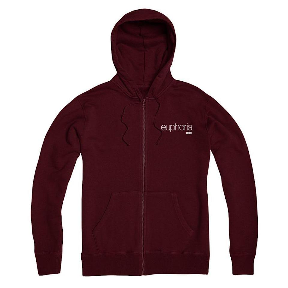 """<p>hbo.com</p><p><strong>$44.95</strong></p><p><a href=""""https://shop.hbo.com/collections/euphoria/products/maroon-zip-up-hoodie-from-euphoria"""" rel=""""nofollow noopener"""" target=""""_blank"""" data-ylk=""""slk:SHOP NOW"""" class=""""link rapid-noclick-resp"""">SHOP NOW </a></p><p>Not only is this spooky close to being Rue's favorite hoodie, but it also has the <em>Euphoria</em> logo on it. Nice. </p>"""