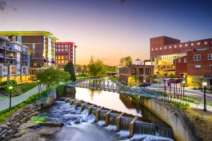 south, carolina, sc, downtown, park, america, usa, town, river, night, skyline, reedy, dusk, united, southern, falls, states, city, us, buildings, greenville, townscape, cityscape