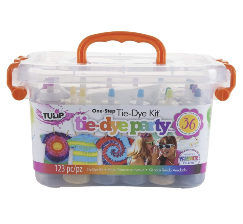 "<p><strong>Tulip One-Step Tie-Dye Kit</strong></p><p>amazon.com</p><p><strong>$26.14</strong></p><p><a href=""https://www.amazon.com/dp/B01FV60TAS?tag=syn-yahoo-20&ascsubtag=%5Bartid%7C10065.g.788%5Bsrc%7Cyahoo-us"" rel=""nofollow noopener"" target=""_blank"" data-ylk=""slk:Shop Now"" class=""link rapid-noclick-resp"">Shop Now</a></p><p>Level up your quarantine sweats with a <a href=""https://www.seventeen.com/fashion/style-advice/a32783223/how-to-tie-dye-diy/"" rel=""nofollow noopener"" target=""_blank"" data-ylk=""slk:DIY tie-dye"" class=""link rapid-noclick-resp"">DIY tie-dye</a> kit.</p>"