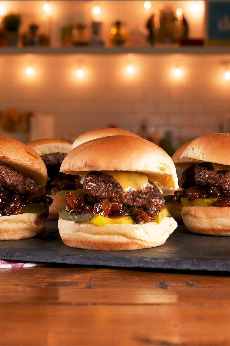 """<p>Just add bacon jam.</p><p>Get the recipe from <a href=""""https://www.delish.com/cooking/recipe-ideas/a29234555/bacon-jam-sliders-recipe/"""" rel=""""nofollow noopener"""" target=""""_blank"""" data-ylk=""""slk:Delish"""" class=""""link rapid-noclick-resp"""">Delish</a>. </p>"""
