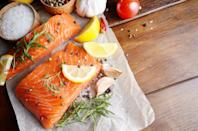 """<p>Fatty fish like salmon and mackerel are high in omega-3 fatty acids, which reduce inflammation and can help lower blood pressure. They are also a great source of <a href=""""https://www.prevention.com/food-nutrition/a20437976/foods-high-in-vitamin-d/"""" rel=""""nofollow noopener"""" target=""""_blank"""" data-ylk=""""slk:vitamin D"""" class=""""link rapid-noclick-resp"""">vitamin D</a>, which helps the body absorb calcium, protect against <a href=""""https://www.prevention.com/life/a20465433/surprising-depression-symptoms/"""" rel=""""nofollow noopener"""" target=""""_blank"""" data-ylk=""""slk:depression"""" class=""""link rapid-noclick-resp"""">depression</a>, and regulate blood pressure.</p><p><strong>Try it:</strong> Cooking fatty fish is super easy. Simply season it with salt, pepper, and herbs, add a little olive oil, and pop it in the oven to broil. For a specific recipe, we love this <a href=""""https://www.prevention.com/food-nutrition/recipes/a23087868/honey-spiced-salmon-recipe/"""" rel=""""nofollow noopener"""" target=""""_blank"""" data-ylk=""""slk:honey-spiced salmon with quinoa"""" class=""""link rapid-noclick-resp"""">honey-spiced salmon with quinoa</a>.</p>"""