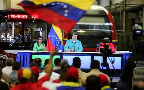 <span>Venezuela's President Maduro speaks during a meeting with representatives of the transport sector in Caracas</span> <span>Credit: &nbsp;REUTERS </span>