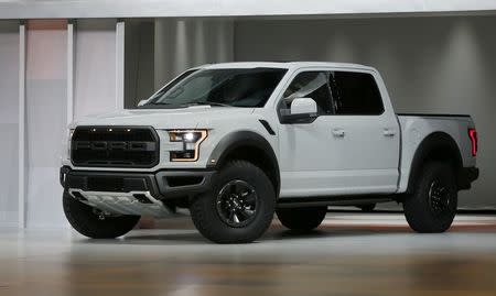 A 2017 Ford F-150 Raptor pickup truck is displayed at the North American International Auto Show in Detroit, Michigan, U.S. on January 11, 2016.   REUTERS/Mark Blinch/File Photo