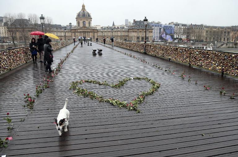 Roses on the Pont des Arts bridge in central Paris on February 14, 2014
