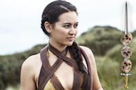 <p>Just to be clear, we're not talking about Arya's direwolf, last seen way back in Season 1 narrowly escaping a Joffrey-ordered death. No, this is Nymeria Sand, whip-slinging daughter of dashing, deceased Dornish prince Oberyn. Having collaborated in the poisoning plot that claimed the life of Jaime's beloved Myrcella, she could easily suffer the blowback that's sure to affect her Sand Snake sisters. Here's hoping she's got her whip at the ready.</p><p><i>(Credit: Helen Sloa/HBO)</i></p>