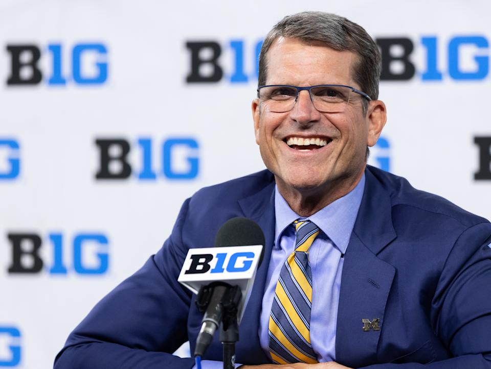 INDIANAPOLIS, IN - JULY 22: Jim Harbaugh, head coach of the Michigan Wolverines speaks during the Big Ten Football Media Days at Lucas Oil Stadium on July 22, 2021 in Indianapolis, Indiana. (Photo by Michael Hickey/Getty Images)
