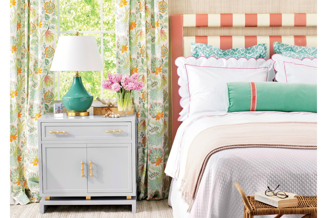 <p>Create a resort-style retreat with this cheery nautical staple.</p> <p><b>Choose Your Spot:</b> If the clean lines and pronounced hues of cabana stripes float your boat, transform a simple headboard into a fresh focal point. Pick a bold or muted hue to anchor the room's palette. Complementary pillows and floral curtains work well with the punchy coral stripes.</p>