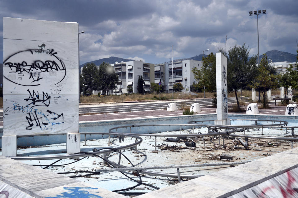 ATHENS, GREECE - JULY 31: General view of the former Olympic Village in Athens, Greece on July 31, 2014. Ten years ago the XXVIII Olympiad was held in Athens from the 13th - 29th August with the motto