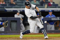 New York Yankees Gary Sanchez hits a game-tying solo home run in the ninth inning of a baseball game against the Kansas City Royals, Wednesday, June 23, 2021, at Yankee Stadium in New York. (AP Photo/Kathy Willens)