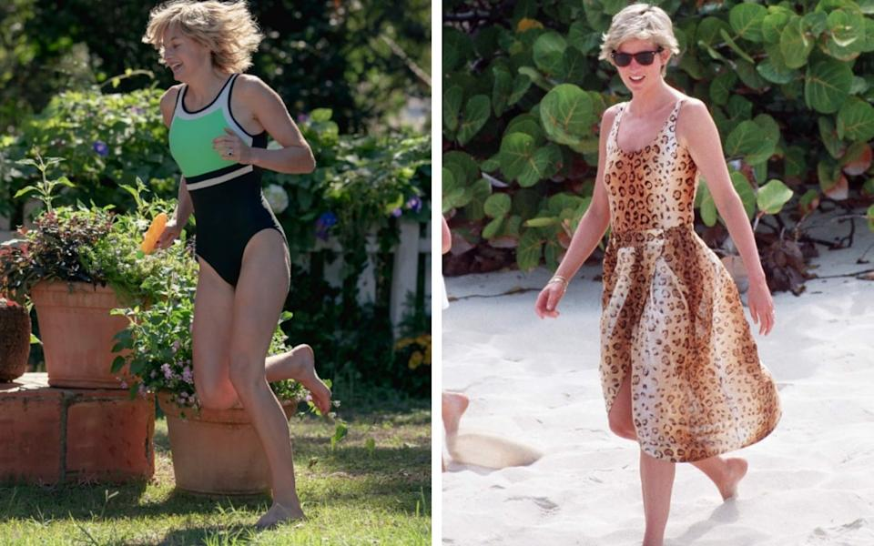 Emma Corrin in a scene where Diana splashes around in the pool at Highgrove, and Diana on holiday in 1990 - Netflix/ Getty