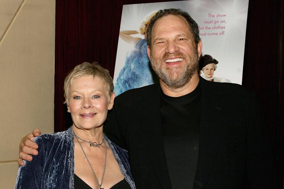 NEW YORK - NOVEMBER 28:  (U.S. TABS OUT & HOLLYWOOD REPORTER OUT)  Actress Dame Judi Dench and Harvey Weinstein attend a special screening for The Weinstein Company's Mrs. Henderson November 28, 2005 in New York City.  (Photo by Scott Wintrow/Getty Images)