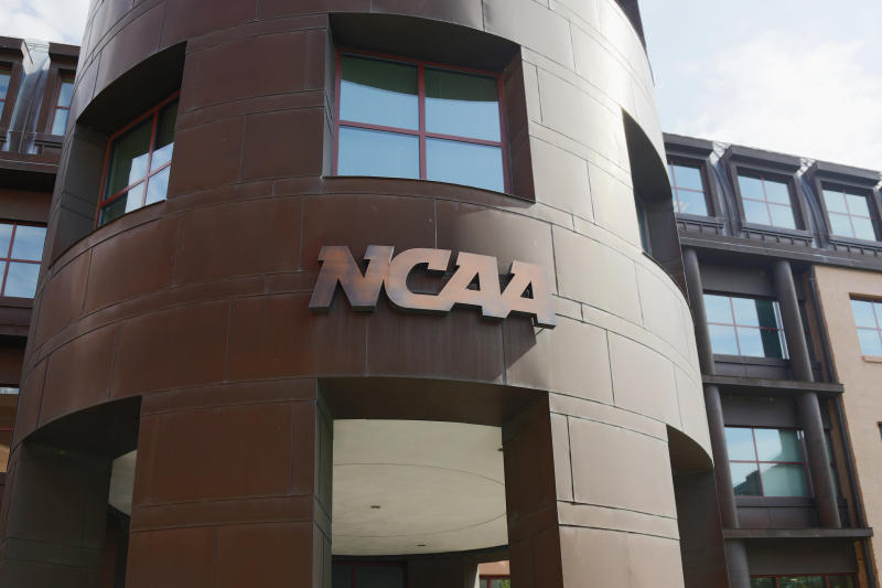 INDIANAPOLIS, IN - JULY 23: The entrance to the NCAA's headquarters is seen following an announcement of sanctions against Penn State University's football program on July 23, 2012 in Indianapolis, Indiana. The sanctions are a result of a report that the university concealed allegations of child sexual abuse made against former defensive coordinator Jerry Sandusky, who was found guilty on 45 of 48 counts related to sexual abuse of boys over a 15-year period. (Photo by Joe Robbins/Getty Images)
