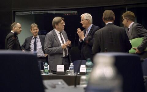 Guy Verhofstadt and Michel Barnier (centre) discuss the ongoing negotiations - Credit: BBC/Zinc Media