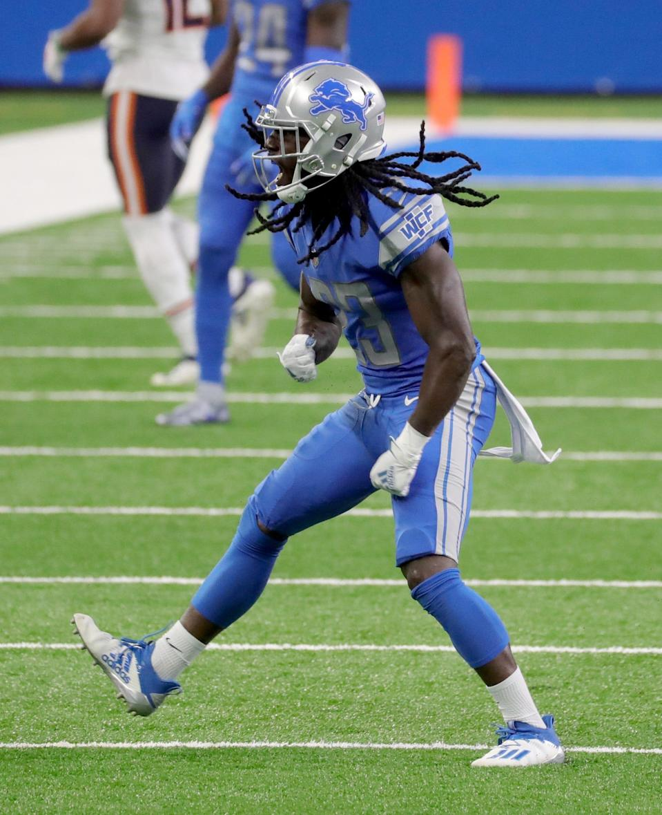 Detroit Lions cornerback Desmond Trufant celebrates his tackle vs. the Chicago Bears during the third quarter at Ford Field, Sunday, Sept. 13, 2020.
