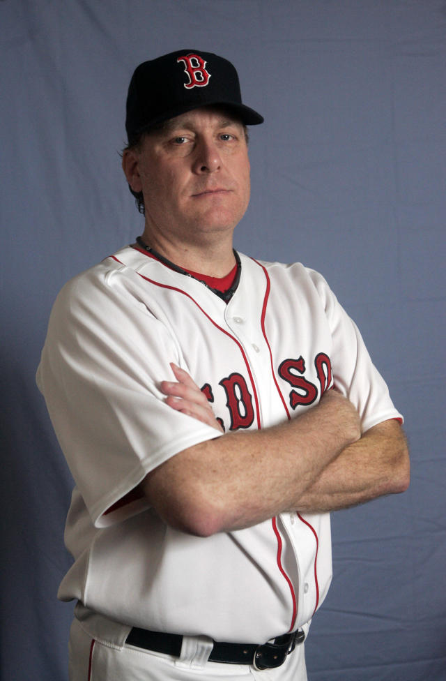 FILE - This is a Feb. 24, 2008 file photo showing Boston Red Sox baseball player Curt Schiling. Former major league pitcher Curt Schilling says he's battling mouth cancer and blames 30 years of chewing tobacco use. Schilling discussed details of his cancer on WEEI-FM in Boston on Wednesday, Aug. 20, 2014. (AP Photo/Steven Senne, File)