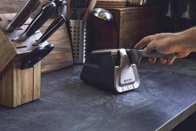 Pictured: Work Sharp E5 Electric Kitchen Knife Sharpener - premiere knife sharpener applies sharp, optimal edges, offers custom angles, three sharpening modes, and counter-friendly design .