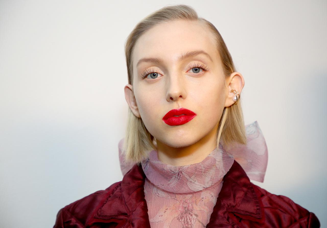 """I'll never tire of a red lip and a clean face, and this super-matte texture looks extra modern. Even better? It's a $9 shade (<a href=""""https://shop-links.co/1698345100144791350"""" rel=""""nofollow"""">SuperStay Matte Ink Liquid LipstickinPioneer</a>) from Maybelline. <em>—B.C.</em>"""