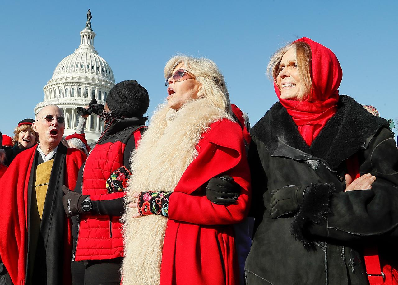 "Gloria Steinem joins birthday girl Jane Fonda on Friday at Fonda's weekly ""Fire Drill Friday"" climate change protest in Washington, D.C."