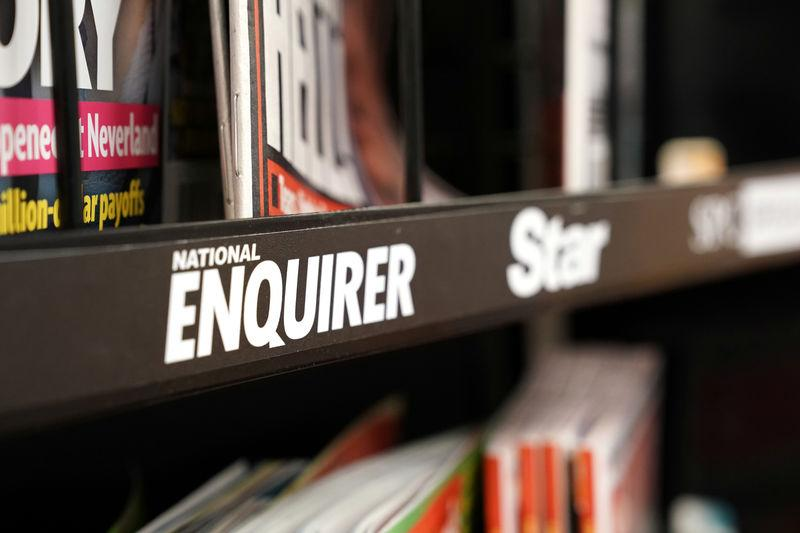 U.S. tabloid newspaper the National Enquirer display rack is seen in Washington