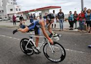 An athlete competes during the Ibero-American Triathlon Championship in Havana, on January 25, 2015 (AFP Photo/Yamil Lage)