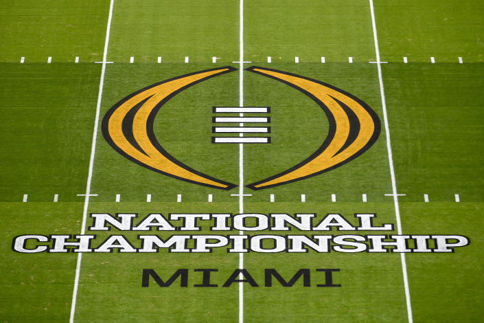 A general view of the CFP logo before the title game between Alabama and Ohio State on Jan. 11. (Alika Jenner/Getty Images)