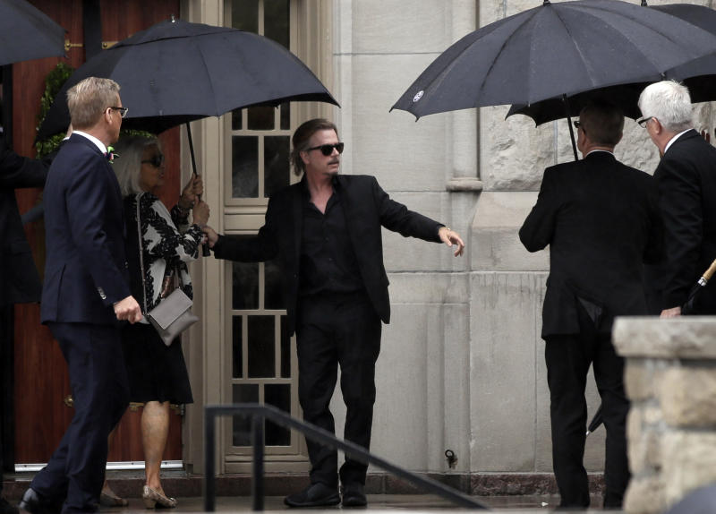 <p> Actor-comedian David Spade helps family members enter Our Lady of Perpetual Help Redemptorist Catholic Church for funeral services for his sister-in-law, designer Kate Spade, in Kansas City, Mo., Thursday, June 21, 2018. (AP Photo/Orlin Wagner) </p>
