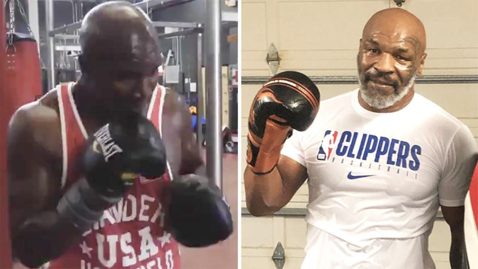 Evander Holyfield training (pictured left) and Mike Tyson after a workout (pictured right). (Instagram)