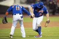 New York Mets' Pete Alonso (20) and Adeiny Hechavarria (11) react at the end of the the second game of a baseball doubleheader after they defeated the Miami Marlins, Monday, Aug. 5, 2019, in New York. (AP Photo/Mary Altaffer)