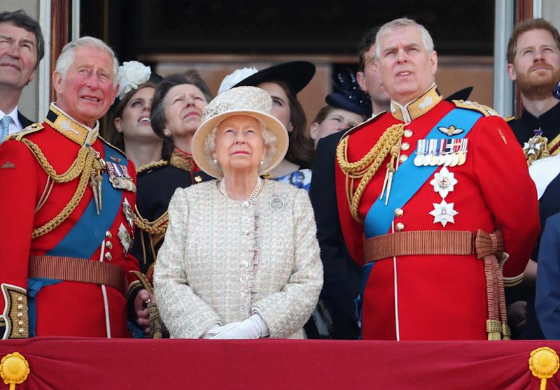 LONDON, ENGLAND - JUNE 08: Prince Charles, Prince of Wales, Princess Beatrice, Princess Anne, Princess Royal, Queen Elizabeth II, Prince Andrew, Duke of York and Prince Harry, Duke of Sussex during Trooping The Colour, the Queen's annual birthday parade, on June 08, 2019 in London, England. (Photo by Chris Jackson/Getty Images)
