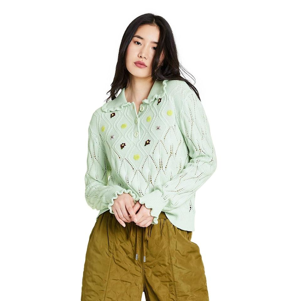<p>This <span>Sandy Liang x Target Floral Embroidered Collared Pullover Sweater</span> ($40) is too cute. We especially love it paired with the <span> Mid-Rise Quilted Jogger Pants </span> ($45).</p>