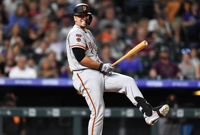 "<a class=""link rapid-noclick-resp"" href=""/mlb/players/8578/"" data-ylk=""slk:Buster Posey"">Buster Posey</a> looks to be in the twilight of his career as a fantasy asset. Mandatory Credit: Ron Chenoy-USA TODAY Sports"
