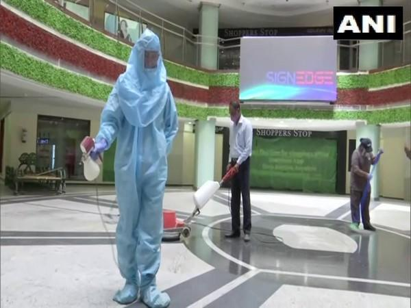 Sanitization process is being carried out in malls and shopping complexes of Bengaluru. (Photo/ANI)