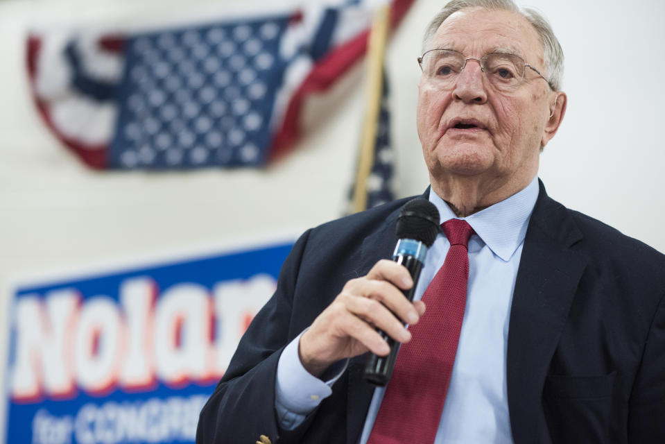 UNITED STATES - OCTOBER 27: Former Vice President Walter Mondale speaks during a fish fry and fundraiser for Rep. Rick Nolan, D-Minn., at the Northland Arboretum in Baxter, MN, October 27, 2016. Nolan is running for reelection in Minnesota's 8th Congressional District. (Photo By Tom Williams/CQ Roll Call)