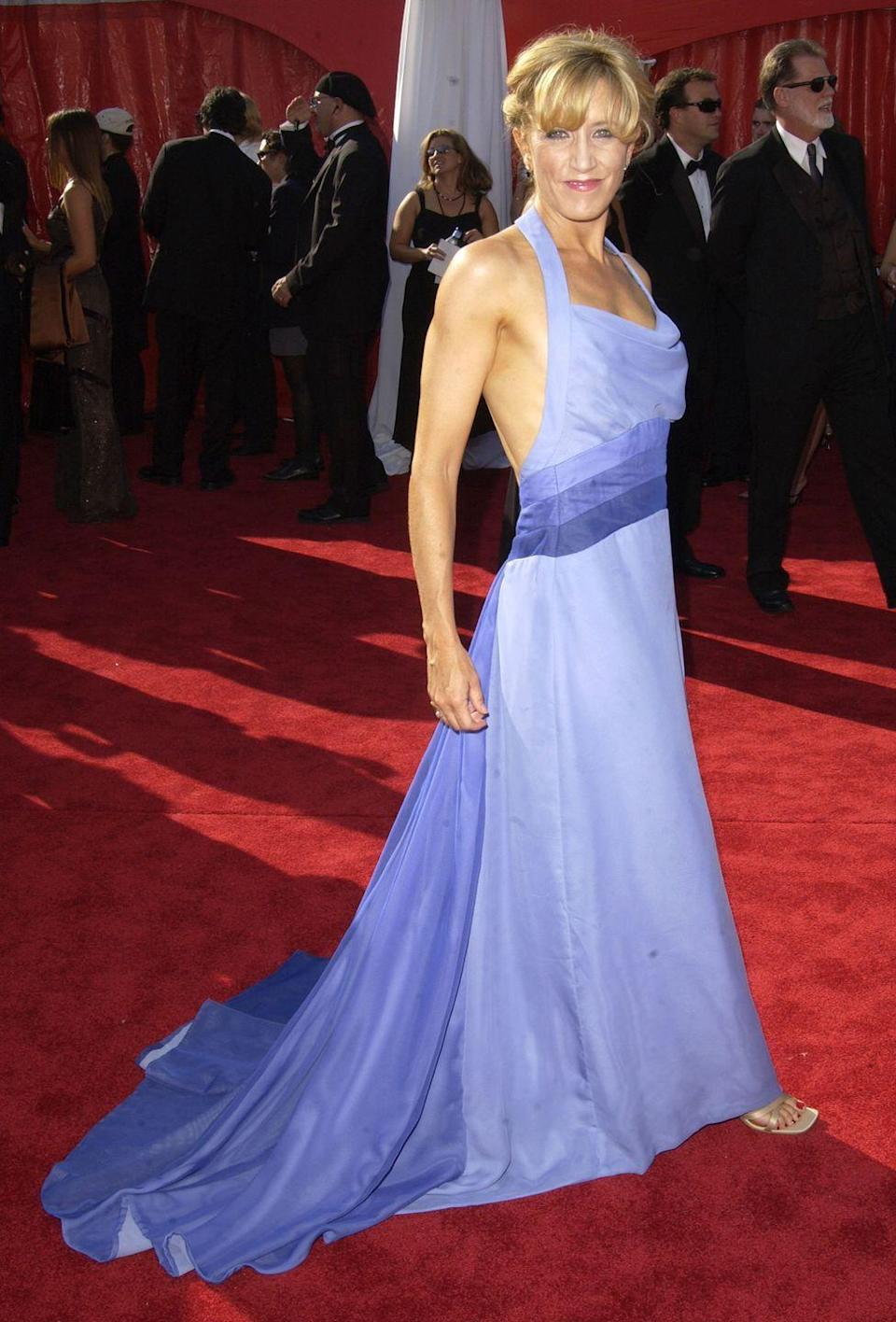 <p>Huffman showed off her impressively-toned arms at the 2003 Emmy Awards red carpet.</p>