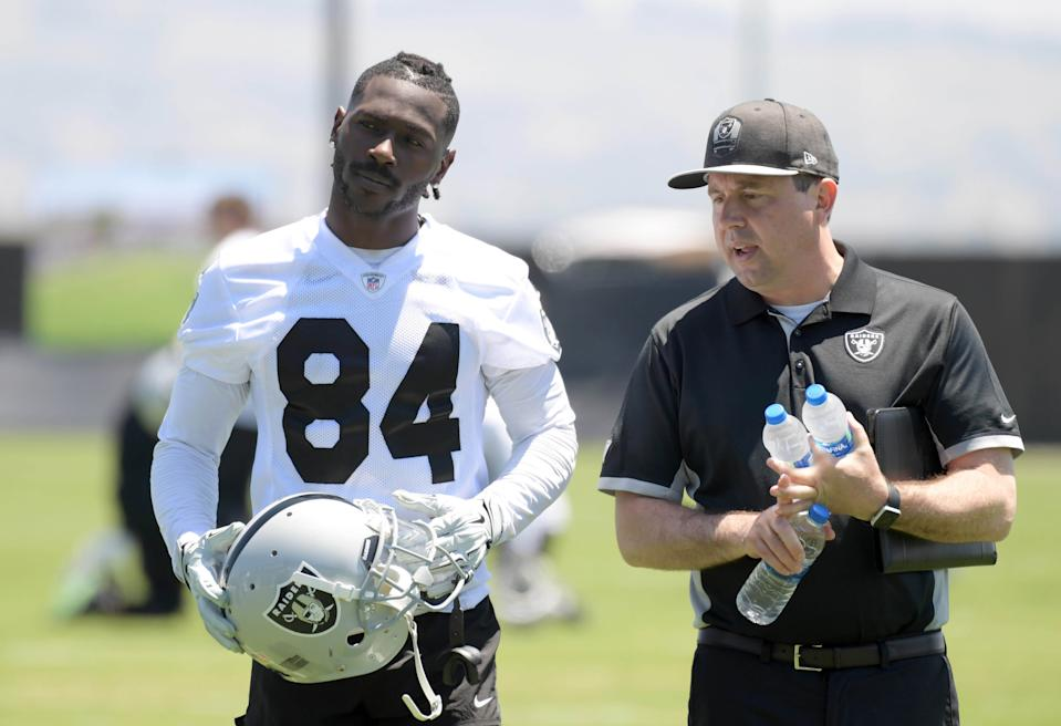 Antonio Brown is reportedly entrenched in a fight with the Raiders to wear an unsafe helmet. (Reuters)
