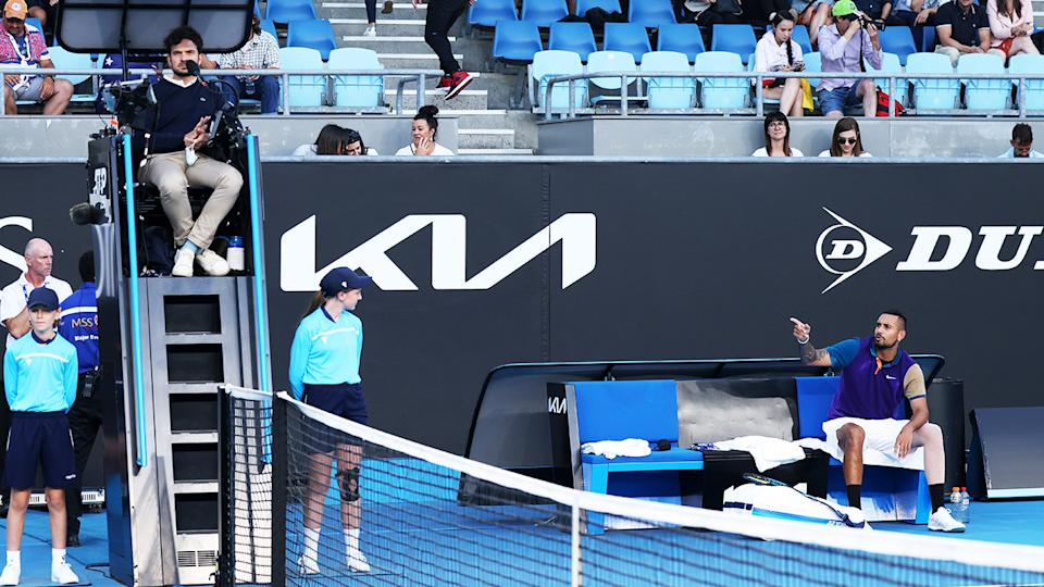 Nick Kyrgios, pictured here arguing with the chair umpire at the ATP 250 Murray River Open.