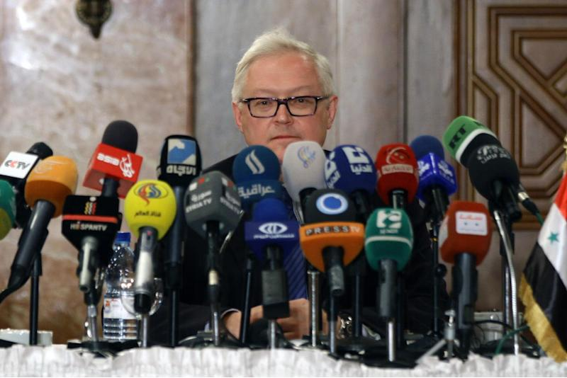 Russian Deputy Foreign Minister Sergei Ryabkov speaks during a press conference on June 28, 2014 in Damascus during an official visit in the Syrian capital