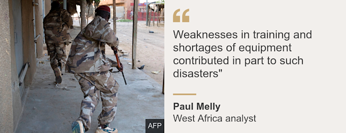 """Quote card. Paul Melly: """"Weaknesses in training and shortages of equipment contributed in part to such disasters"""""""