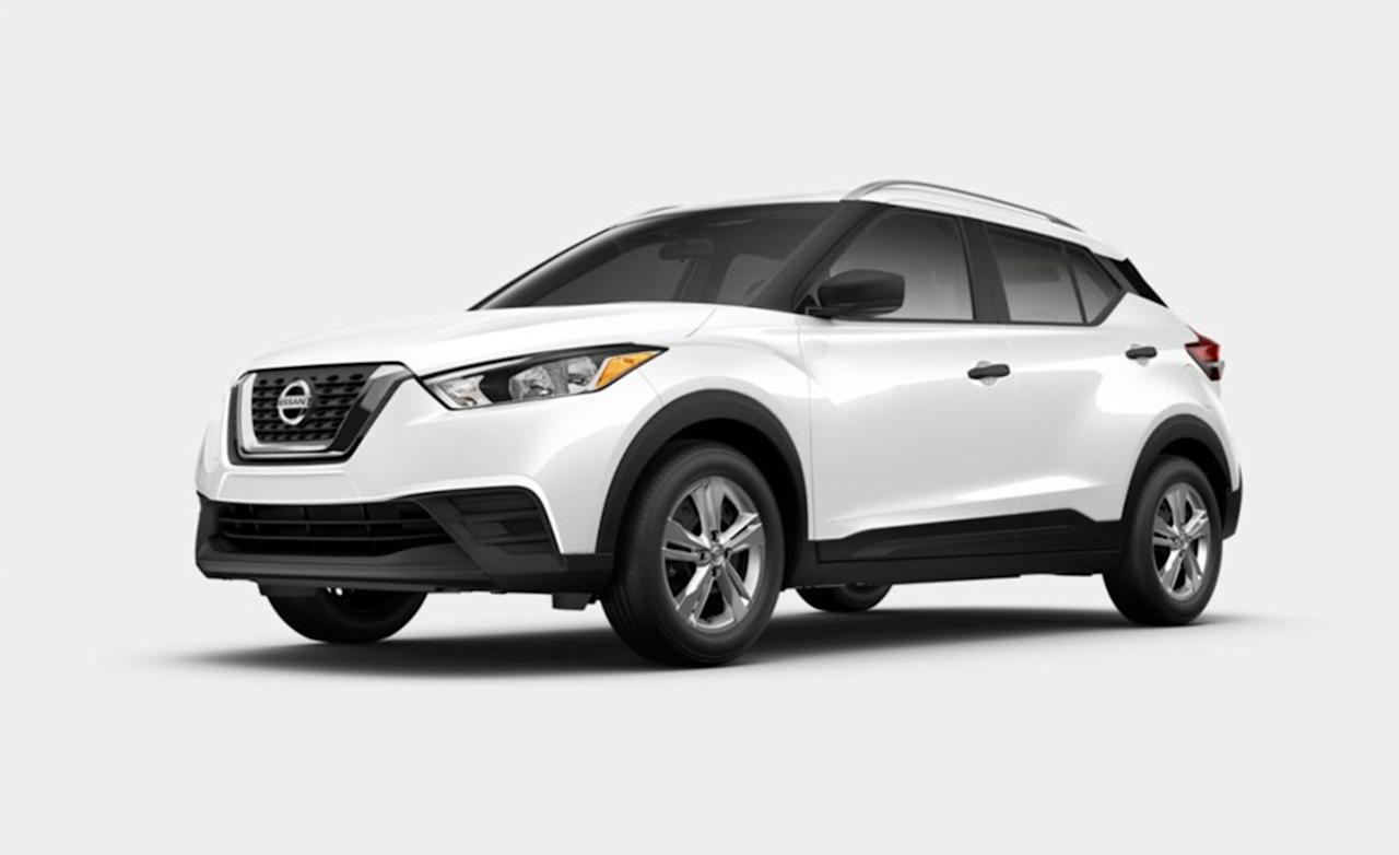 "<p>The base Kicks S (pictured here in oh-so-basic white paint) starts at $19,585 making it one of <a rel=""nofollow"" href=""https://www.caranddriver.com/features/g25243299/cheapest-crossovers-suvs-2019/"">the cheapest new SUVs on sale today</a>. Since few people lust after something just because it doesn't cost much money, allow us to clarify: The Kicks is loaded with standard features, making it an outstanding value. Every trim level includes automatic headlamps, Bluetooth phone connectivity, a 7.0-inch touchscreen, push-button ignition, a tilt-and-telescoping steering wheel, cruise control, redundant audio controls on the steering wheel, and three USB ports. Want more equipment? Nissan offers the mid-range SV and the top-spec SR trims for $21,295 and $21,915, meaning a loaded Kicks doesn't cost much more than the entry-level model. </p>"