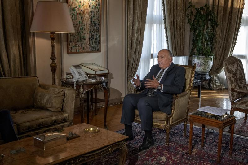 "Egyptian Foreign Minister Sameh Shukry speaks during an interview with The Associated Press at his office, in Cairo, Egypt, Sunday, June 21, 2020. Egypt wants the United Nations Security Council to ""undertake its responsibilities"" and prevent Ethiopia from starting to fill its massive, newly built hydroelectric dam on the Nile River next month amid a breakdown in negotiations, Shukry told the AP on Sunday, accusing Ethiopian officials of stoking antagonism between the countries.(AP Photo/Nariman El-Mofty)"
