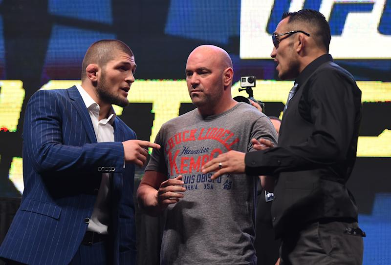 LAS VEGAS, NV - MARCH 04: (L-R) Opponents Khabib Nurmagomedov and Tony Ferguson face off during the UFC Unstoppable launch press conference at the MGM Grand Garden Arena on March 4, 2016 in Las Vegas, Nevada. (Photo by Josh Hedges/Zuffa LLC/Zuffa LLC via Getty Images)