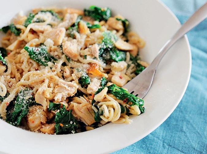 """<h2>34. Keto Pasta with Chicken</h2> <p>If you're not into chicken thighs, you can use boneless, skinless chicken breast too.</p> <p><a class=""""link rapid-noclick-resp"""" href=""""https://www.purewow.com/recipes/keto-pasta-lemon-kale-chicken"""" rel=""""nofollow noopener"""" target=""""_blank"""" data-ylk=""""slk:Get the recipe"""">Get the recipe</a></p>"""