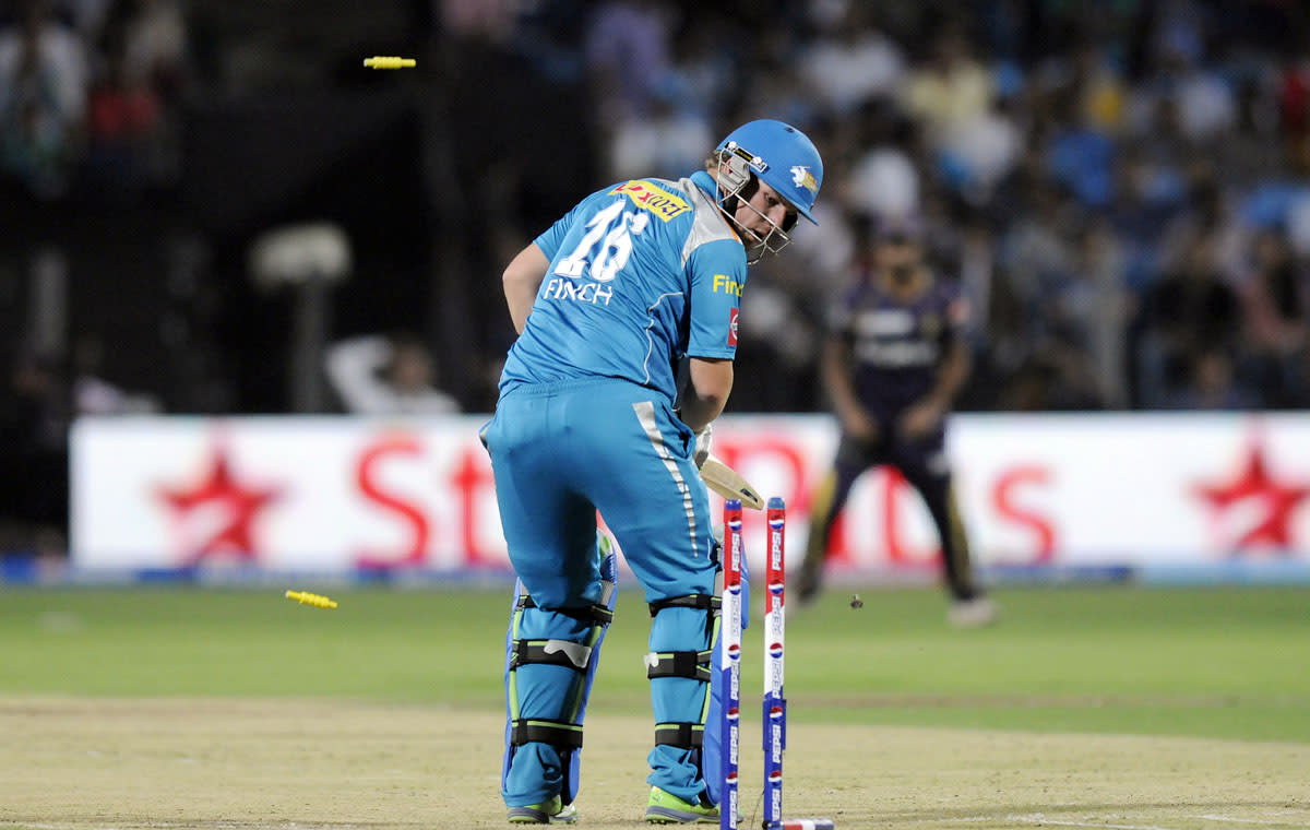Aaron Finch captain of Pune Warriors looks on after getting bowled out by Jacques Kallis of Kolkata Knight Riders during match 56 of the Pepsi Indian Premier League ( IPL) 2013  between The Pune Warriors India and the Kolkata Knight Riders held at the Subrata Roy Sahara Stadium, Pune on the 9th May 2013. (BCCI)